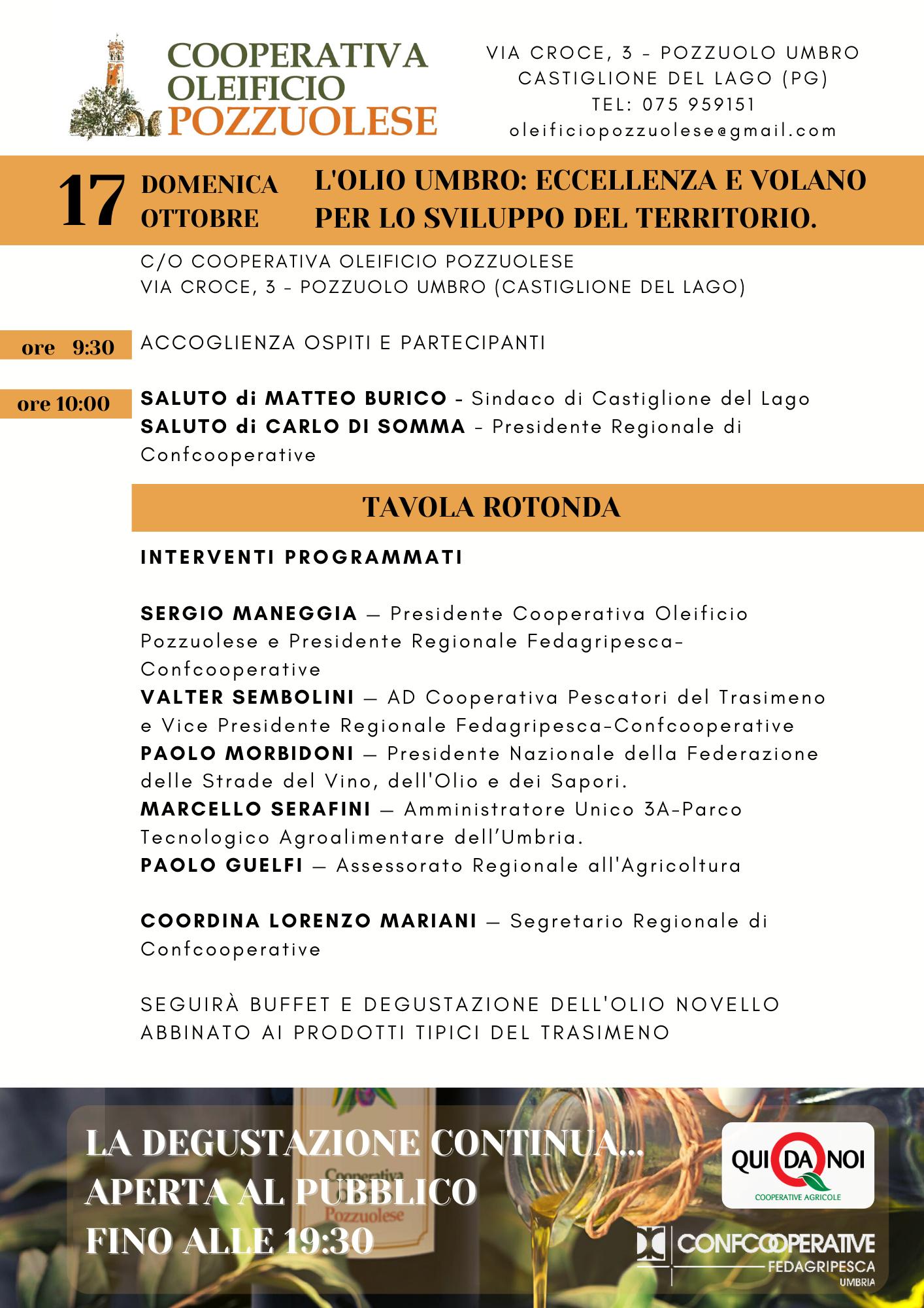 Apertura Campagna olearia 17 ottobre 2021 con degustazione olio novello. PROGRAMMA Dettagliato