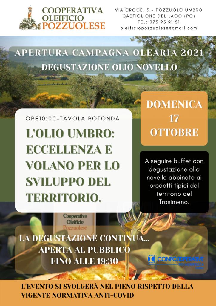 Apertura Campagna olearia 2021 domenica 17 ottobre con degustazione olio novello